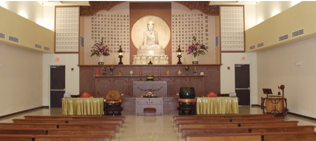 Interior of the Guang Ming Buddhist Temple at 6555 Hoffner Avenue in Orlando, FL.